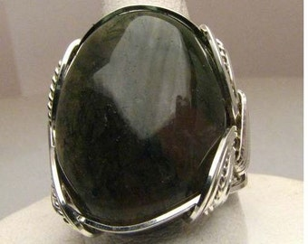 Handmade Wire Wrapped Green Moss Agate Sterling Silver Ring.  Custom Personalized Sizing to fit you.