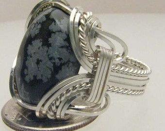 Handmade Wire Wrapped Black White Snow Flake Agate Sterling Silver Ring. Custom Personalized Sizing to fit you.