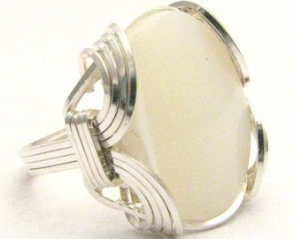 Wire Wrapped Mother of Pearl Gemstone Sterling Silver Ring.  Custom Sized to fit you.