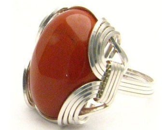 Oval Wire Wrap Red Jasper Silver Gemstone Ring.  Custom Sized to fit you.