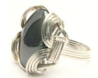 Oval Wire Wrap Hematite Silver Black Gemstone Ring.  Custom Sized to fit you.