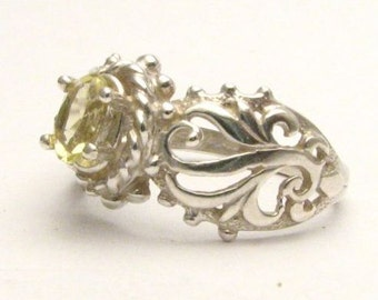 Beautiful handcrafted Lemon Yellow Citrine Filigree Vine Solid Sterling Silver Ring.  Custom Sized to fit you.