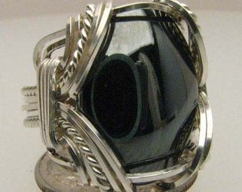 Handmade Wire Wrapped Hematite Sterling Silver Ring.  Custom Personalized Sizing to fit you.