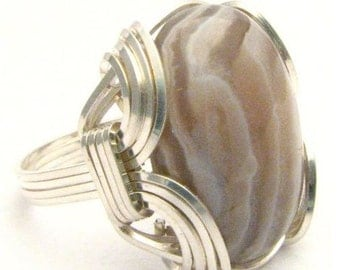 Wire Wrapped Botswana Agate Gemstone Sterling Silver Ring.  Custom Sized to fit you.