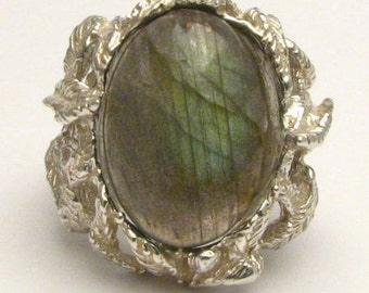 Handmade Claw Unique Designed Green Labraborite Cab Solid Sterling Silver Cocktail Ring.  Custom Sized to fit you.