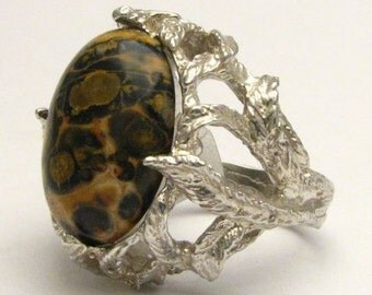 Leopard Skin Animal Print Onyx Cab Gemstone Solid Sterling Silver Ring.   Custom Sized to fit you.