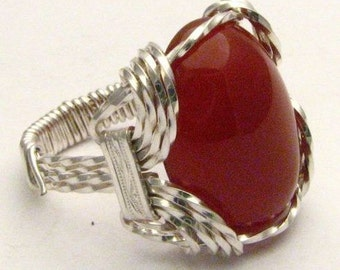 Wire Wrapped Carnelian Gemstone Sterling Silver Ring.  Custom Sized to fit you.
