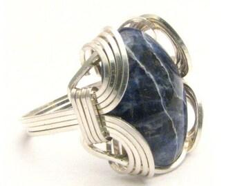Oval Wire Wrap Blue Sodalite Silver Gemstone.  Custom Sized to fit you.