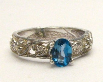 London Blue Topaz Gemstone Vine Solid Sterling Silver.  Custom Sized to fit you.
