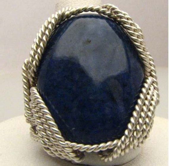 Handmade Wire Wrapped Navy Blue Sodalite Sterling Silver Ring. Custom Personalized Sizing to fit you.