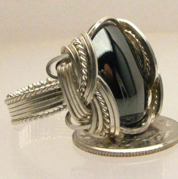 Handmade Wire Wrapped Silver Hematite Sterling Silver Ring. Custom Personalized Sizing to fit you.