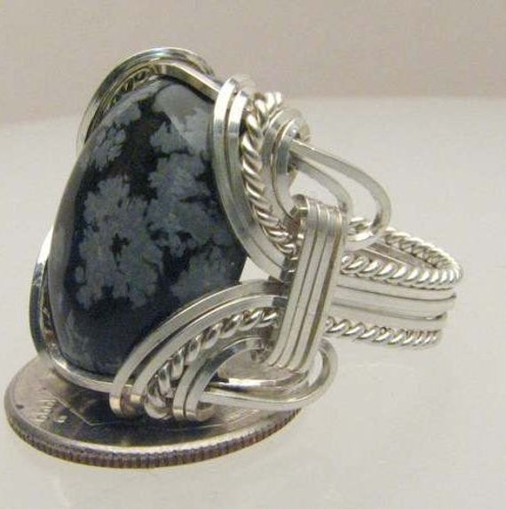 Handmade Wire Wrapped Silver Snow Flake Agate Sterling Silver Ring.  Custom Personalized Sizing to fit you.