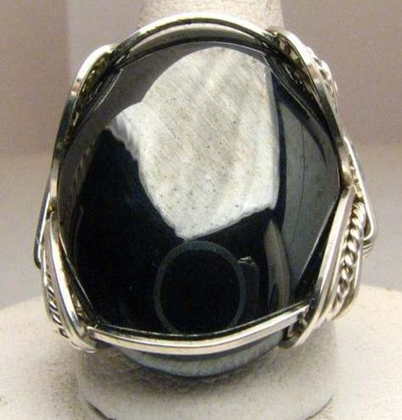 Handmade Wire Wrapped Black Hematite Sterling Silver Ring.  Custom Personalized Sizing to fit you.