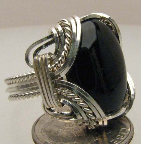 Handmade Wire Wrapped Black Black Onyx Ring Sterling Silver.  Custom Personalized Sizing to fit you.