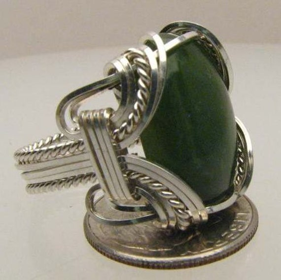 Handmade Wire Wrapped Green Adventure Sterling Silver Ring.  Custom Personalized Sizing to fit you.