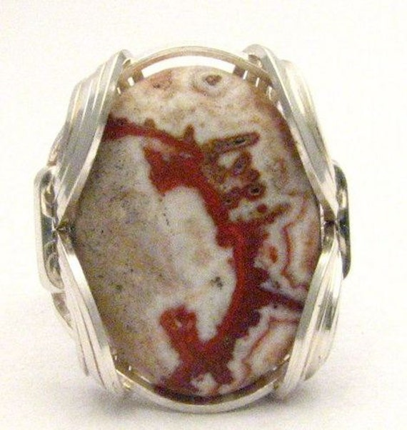 Wire Wrapped Rosetta Picture Stone Sterling Silver Ring.  Custom Sized to fit you.