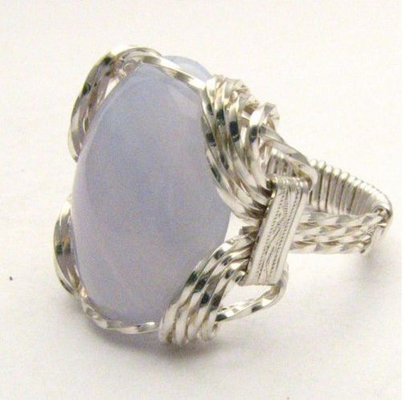 Wire Wrapped Light Blue Lace White Stripes Agate Gemstone Sterling Silver Ring.  Custom Sized to fit you.