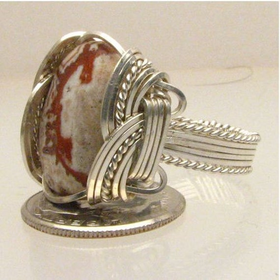 Handmade Wire Wrapped Rosetta Picture Stone Sterling Silver Ring. Custom Personalized Sizing to fit you.