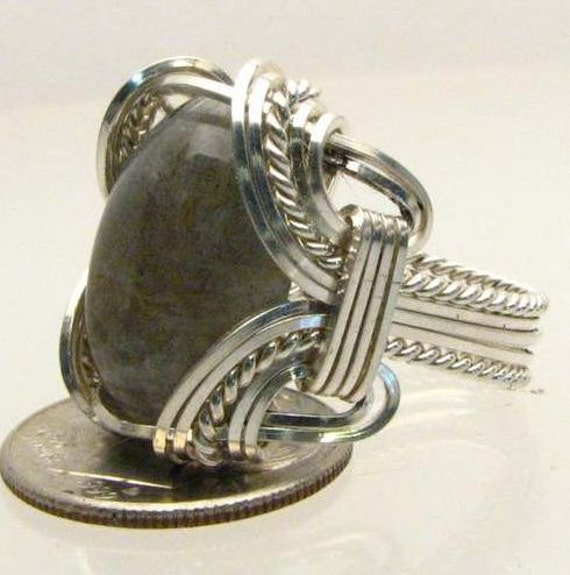 Handmade Wire Wrapped Labradorite Sterling Silver Ring. Custom Personalized Sizing to fit you.