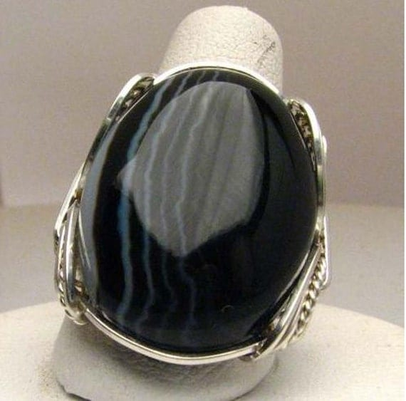 Handmade Wire Wrapped Black Stripped Onyx Sterling Silver Ring. Custom Personalized Sizing to fit you.