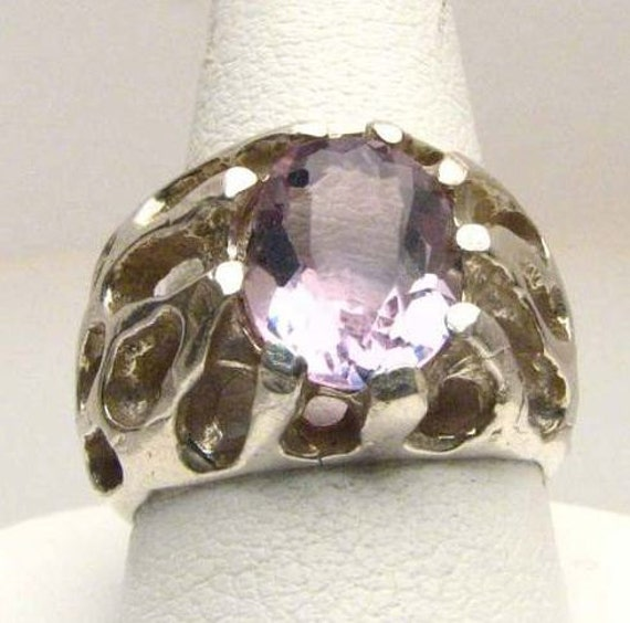 Light Purple Amethyst Sterling Silver Design Solid Ring.  Custom Sized to fit you.