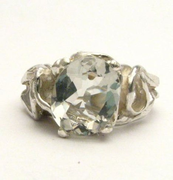 Gothic Prasiolite Quartz Solid Sterling Silver Gemstone Ring 10x8mm 3 ct.   Custom Sized to fit you