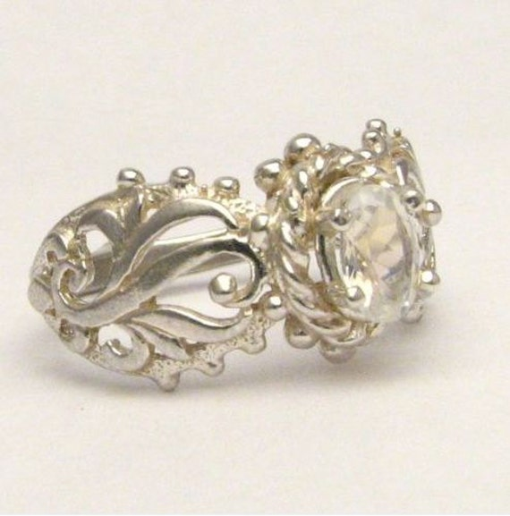 Beautiful handcrafted Moonstone Filigree Vine Solid Sterling Silver Ring.  Custom Sized to fit you.