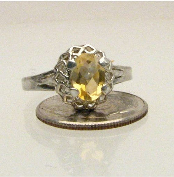 Exquisite Citrine Crystal Quartz Yellow Orange Cluster Sterling Silver Ring 6x4mm 1ct.  Custom Sized to fit you.