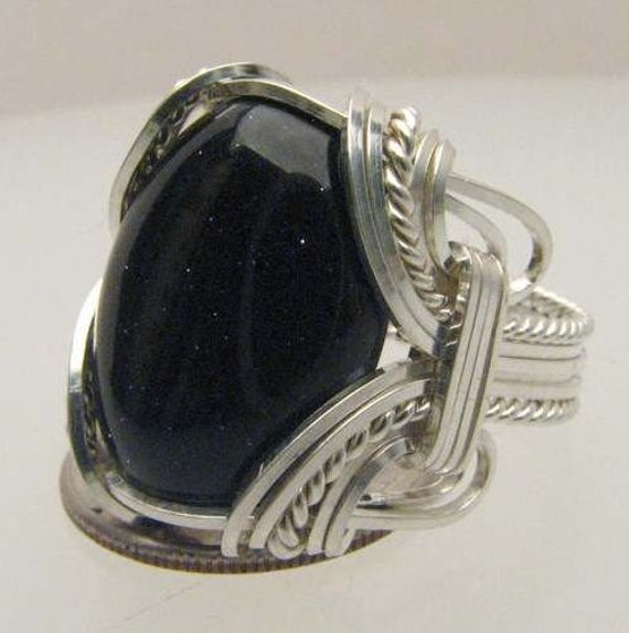 Handmade Wire Wrapped Blue Goldstone Sterling Silver Ring. Custom Personalized Sizing to fit you.