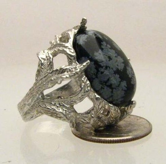 Custom Made Snow Flake Agate Cab 18x13mm Black and White Gemstone Solid Sterling Silver Ring.   Custom Sized to fit you.