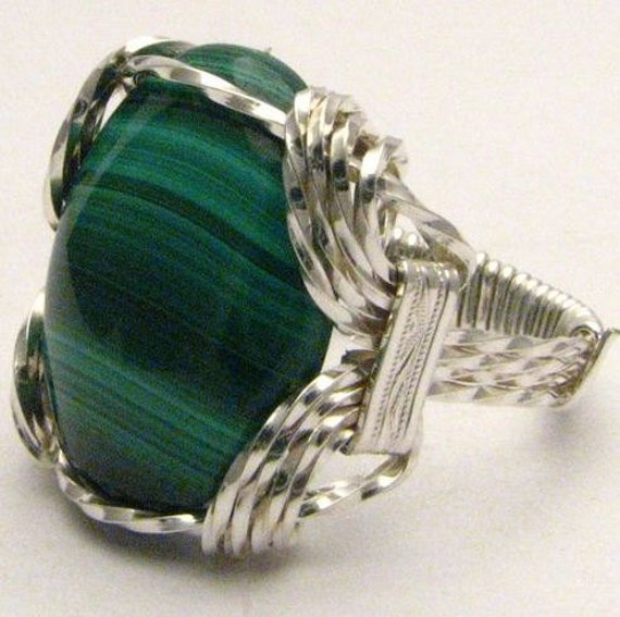 Oval Wire Wrap Malachite Dark Green White Tan stripes Sterling Silver Ring. Custom Personalized Sizing to fit you.