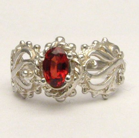 Red Gemstone Spinel Filigree Solid Sterling Silver also in 14kt Gemstone Ring. Custom Sized to fit you.