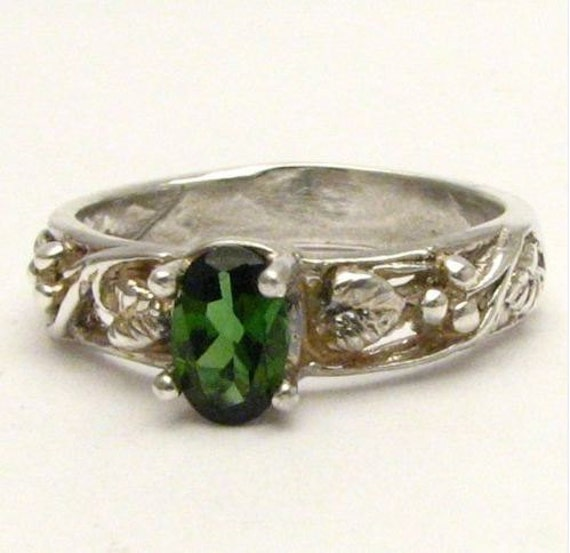 Dark Green Gemstone tourmaline Vine Solid Sterling Silver.  Custom Sized to fit you.