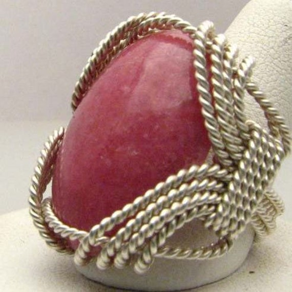 Oval Wire Wrap Red Sodalite Silver Ring.  Custom Personalized Sizing to fit you.