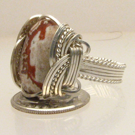 Wire Wrap Rosetta Picture Stone Silver Ring Handmade free sizing and shipping, 4 gem sizes have different stone to