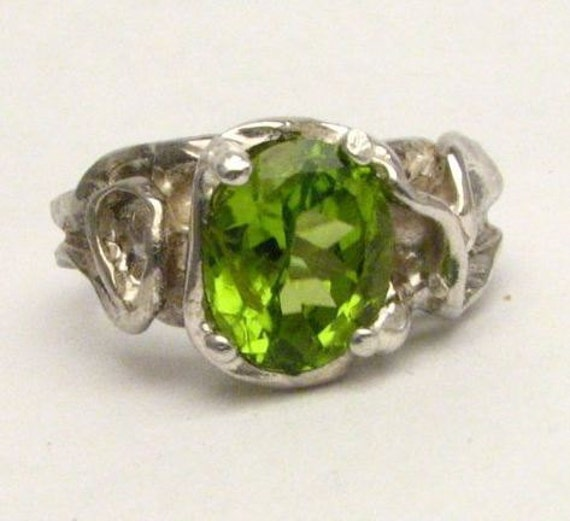 Green Gothic Peridot Solid Sterling Silver Ring. Custom Sized to fit you.