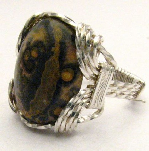 Wire Wrapped Leopard Skin Style Browns Gemstone Sterling Silver Ring 925.  Custom Sized to fit you.