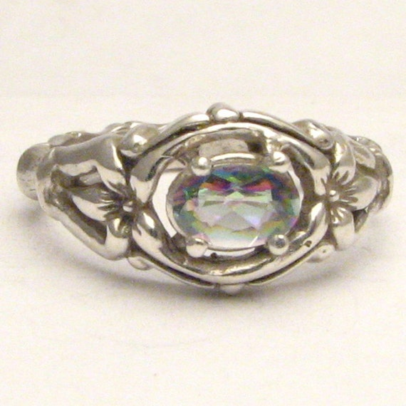 Mystic Topaz Gemstone Bone Ring Solid Sterling Silver also in 14kt 6x4mm .5ct