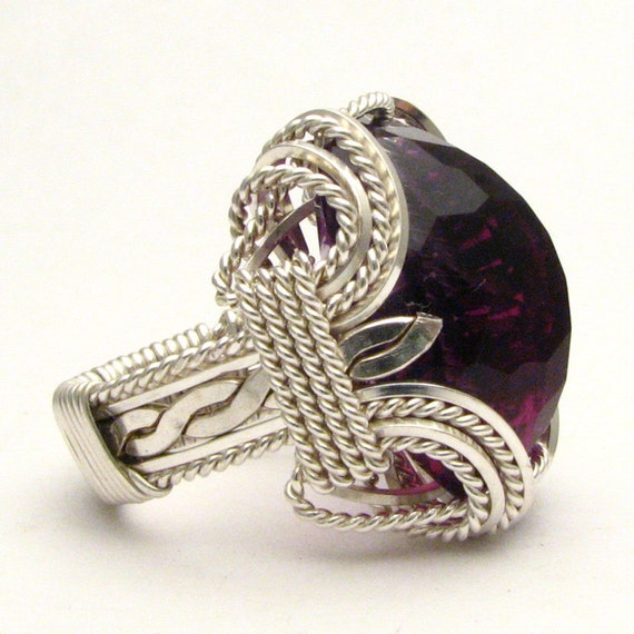 Handmade Sterling Silver Wire Wrap Faceted Amethyst Ring