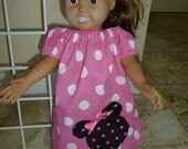 Minnie Mouse Peasant Style Dress for American Girl and Other 18 Inch Dolls