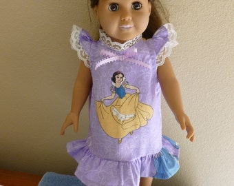 Disney Princesses Nightgown for American Girl and other 18 inch dolls
