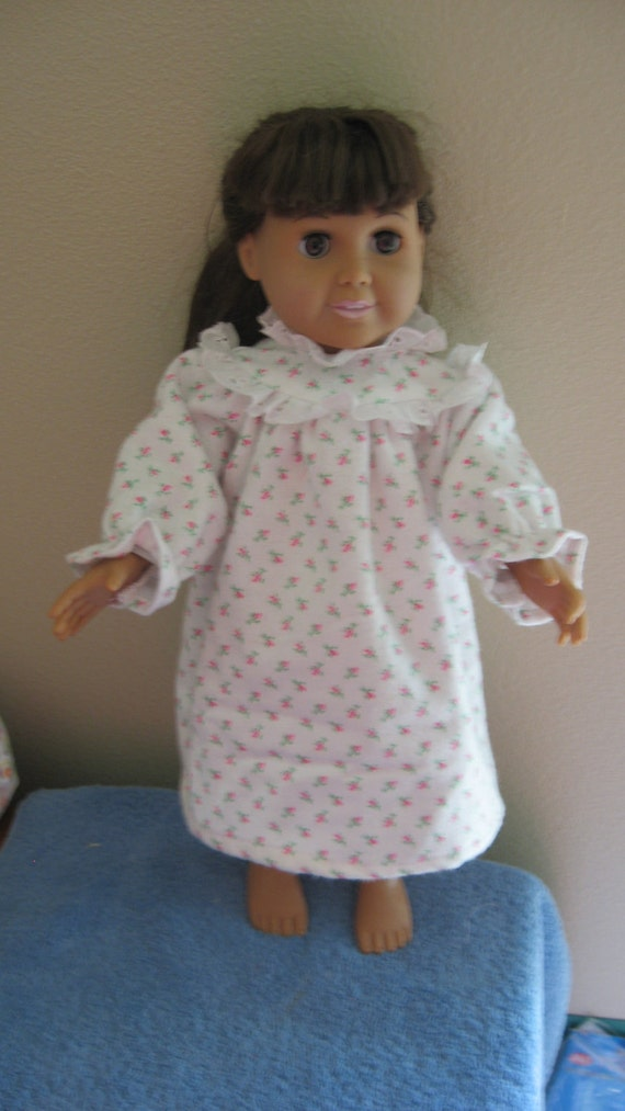 Items similar to Petite Rosebud Flannel Nightgown for American Girl ...