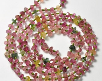 139CT Tourmaline Faceted Nugget Beads 38 inch Necklace