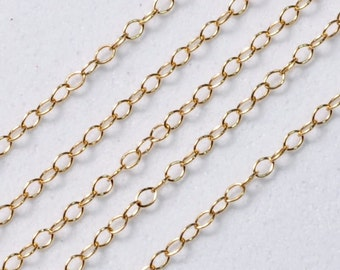 Classic 14k Gold Filled Bulk Chain 1mmx2mm link 12 FEET