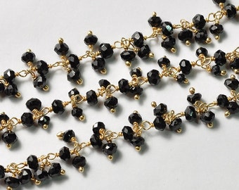 18K Gold Plated Copper Black Spinel Gemstone Cluster Chain 17 INCH