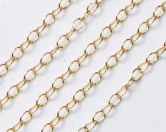 14k Gold Filled Bulk Extender Chain 2mmx3mm 10 FEET