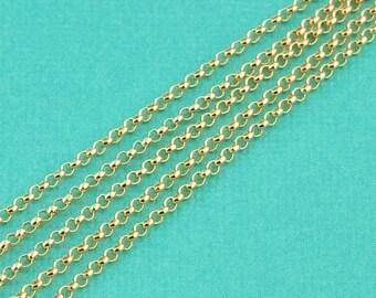 14K Gold Filled Bulk Rolo Chain 1.5mm link 5 Feet