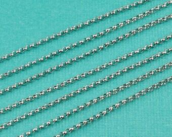 Rhodium Sterling Silver Bulk Rolo Chain 1.5MM link 5 FEET