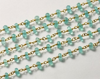 14k Gold Filled Apatite Gemstone Chain 4 FEET