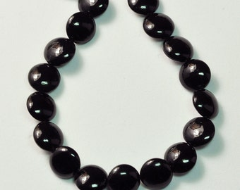 10MM Black Agate Calibrated Coin Briolette Bead 6.5 inch strand